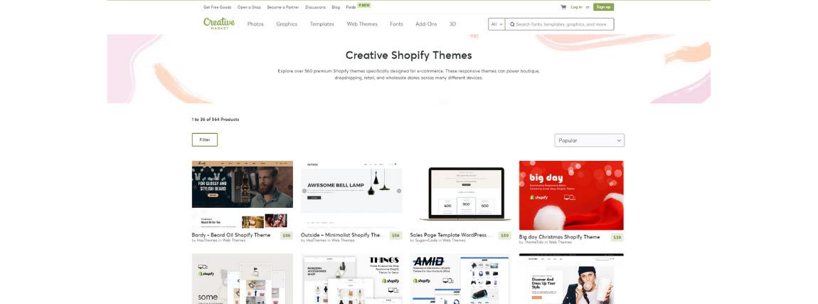Creative Market Shopify sablon