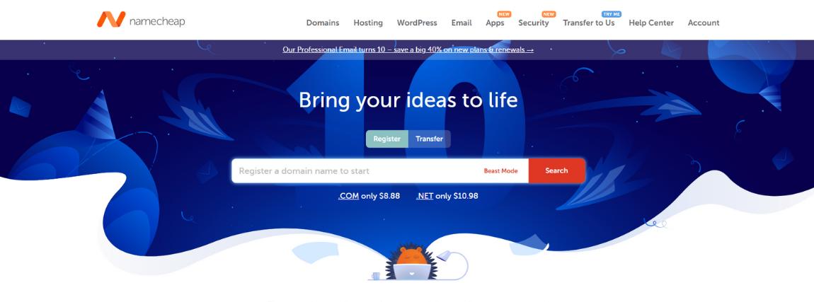 Namecheap a domain név regisztrációjához